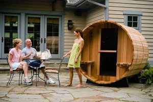 Barrel Sauna Rustic 7+1 ft. sfeer